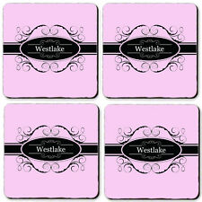 Personalized Coasters set of 4 High Gloss Hard Board PINK BLACK BAND ANY NAME