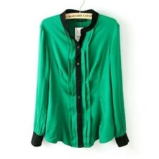 Stylish Chiffon Solid Color Pleated Career Women Button Down Shirt Blouse Tops