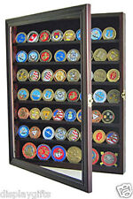 56 Military Challenge Coin Display Case Cabinet Wall Rack, medal flag, COIN56