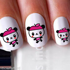 20x Panda Cute Pink Girly Hat Nail Art Decals Stickers Water Transfer Wraps 013