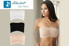 WOMENS BANDEAU BRA STRAPLESS COMFORT BOOB TUBE BLACK WHITE NUDE 8 10 12 14 16