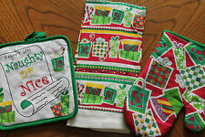 KITCHEN TOWEL, QUILTED POTHOLDER OR OVEN MITT *Christmas gifts Naughty Nice *