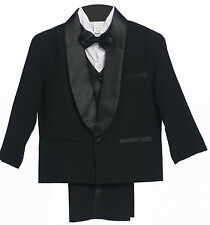 NEW CHILDREN BOYS CHILDREN WEDDING FORMAL PARTY BLACK TUXEDO SUIT S- 4T 5 -18