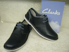 Clarks Marden Grove Navy Blue Leather Casual Lace Up Shoes