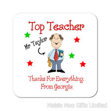 Top Teacher Teaching Assistant Personalised Wooden Thank You Gift Coaster