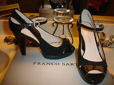 Franco Sarto Sulu Black leather Suede Heel Wedding Prom Bridal Quality Nice $89