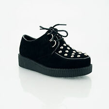 NEW KIDS GIRLS PLATFORM LACE UP CREEPERS GOTH PUNK SHOES BLACK SUEDE SIZES 2-10