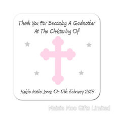 Personalised Godparent Godmother Godfather Cross Christening Thanks Gift Coaster