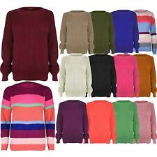 Womens Ladies chunky Jumper  Oversized Sweater Knitted Baggy One Size UK 8-14