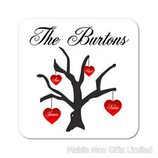 Family Tree Love Hearts Personalised Wooden Gift Coaster Birthday Present Mum
