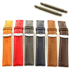 Mens Padded Genuine Leather Watch Strap Band Sahara Stainless Steel Buckle