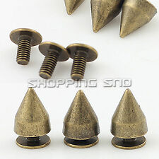 9mm Bronze Cone Screwback Metal Studs Leathercraft Rivet Bullet Spike Punk spots