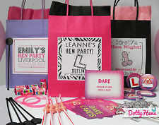 HEN NIGHT PARTY PERSONALISED GIFT BAGS ** PRE FILLED**  12 ITEMS - ACCESSORIES