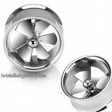 1 Pair Surgical Steel Hollow Double Flare Spinning Fan Tunnels Plugs