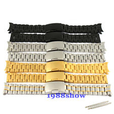 New 18~24 mm Curved/Straight Solid Stainless Bracelet Watch Band Strap Fit All