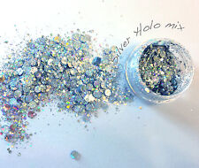Multi size mix Nail art glitter & sequin Discs/ dots Silver Holographic
