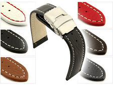 Mens Leather Watch Strap Band Freiburg Deployment Clasp 18 mm 20mm 22mm 24mm 26