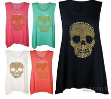 NEW WOMENS PLUS SIZE SKULL HEAD STUDDED DETAIL DIPPED HEM TUNIC VEST TOPS 14-28