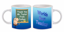 PERSONALISED THANK YOU WORLDS BEST TEACHER MUG LEAVING GIFT MALE   (b)
