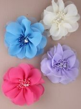 Chiffon fabric flower on a forked beak clip with pearl bead centre stamen. 4 col