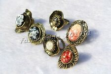 FREE wholesale lots charm Big alloy&resin&shell silver p metal antique rings