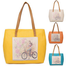 Icons Womens Girls pu Leather Handbag Shoulder Bag Large Tote in Candy 4 Colors