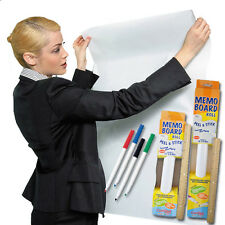 Contact Adhesive Dry Erase Memo Board Peel & Stick Roll in 2 Sizes w/ 4 Markers