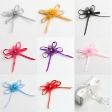 PACK OF 12 SELF ADHESIVE SATIN BOW FLOWER WITH DIAMANTE CENTRE FAVOUR DECORATION