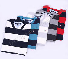 Tommy Hilfiger Men Golf Style Classic Stripe V-Neck Sweater - Free $0 Shipping
