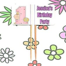 20 Personalised 1st Birthday Cupcake Party Picks BOY GIRL Food Flags Toppers
