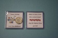 Unique PERSONALISED Happy Birthday LUCKY SIXPENCE Grandad Gift Card Present