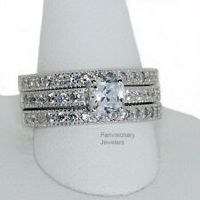 5mm Princess Solitaire CZ 925 Sterling Silver Engagement 3 ring Set Wedding Band