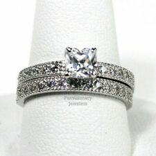 Princess Cut 2 Ring Set CZ 5mm Solitaire 925 Sterling Silver Engagement Wedding