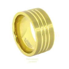 9MM 18K Yellow Gold IP Pipe Cut with Channels Brushed Tungsten Carbide Ring