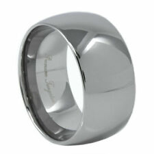 Large 12MM Tungsten Carbide Ring Classic Dome Polished  Sizes 8-15 half sizes