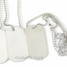 WHOLESALE 10 25 50 100 BLANK DOG TAG STAINLESS STEEL MILITARY SPEC NECKLACES