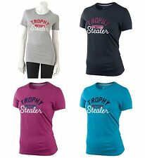 Nike Womens T-Shirt Slim Fit Short Sleeve Trophy Stealer Swoosh Logo Cotton Tee