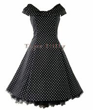 HEARTS & ROSES H&R 50's retro COLLAR rockabilly SMALL POLKA DRESS BLK WHITE
