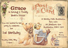 Personalised childrens 1st birthday,TEDDY BEARS PICNIC,postcard invitations