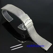 New 22 24 mm Stainless Steel Mesh Bracelet Watch Diving Replacement Band Strap