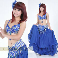 2pcs set Bra Top with Belt Belly Dance Performace Costume Rhinestone Sequins