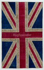 British Flag Union Jack PATCHWORK RUG Made frm OVERDYED Vintage handmade Carpets