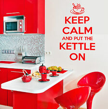 KEEP CALM AND PUT THE KETTLE ON wall art vinyl sticker kitchen room decal quote
