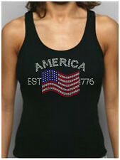 America Est 1776 Rhinestone Fitted Tank Tops/Shirts Patriotic USA 4th of July