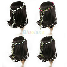 Lady Girl Boho Floral Hoop Headband Festival Wedding Flower Garland Hair Wreaths