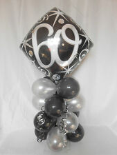 AGE 60TH 18TH-80TH BLACK  SILVER FOIL BIRTHDAY BALLOON TABLE DECORATION DISPLAY