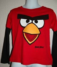 Angry Birds Boys Toddlers Red Multi Long Sleeve Cotton T-Shirt Size 2T & 3T Sale