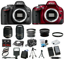 Nikon D5200 DSLR Camera Black or Red + 18-55 VR + 55-300 VR - 4 Lens +64GB +Case