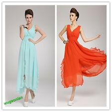 Hot Lady' Bohemian Beach Dress V Neck Long Chiffon Cocktail Asymmetrical 8Colors