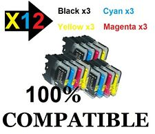 Lot 3x4 Cartouches-ink encre compatible imprimante Brother DCP MFC LC980 LC1100
